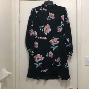 NWOT BOOHOO High Neck Dress w/ flutter wrap skirt